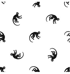 Capuchin monkey pattern seamless black vector
