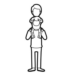 caricature thick contour faceless bearded father vector image
