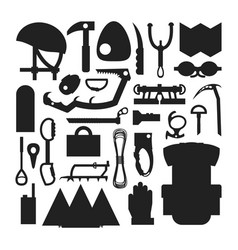 Climbing trekking equipment silhouette set vector