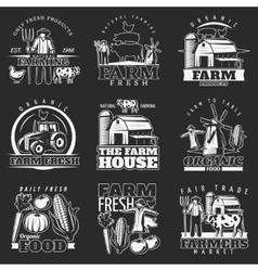 Dark farm emblems set vector