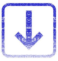 Down arrow framed textured icon vector