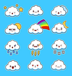 emoji clouds cute smily clouds with faces vector image vector image