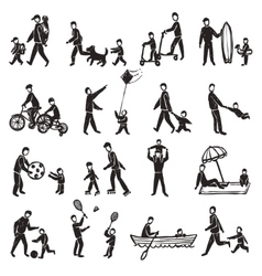 Family activity sketch icon set vector