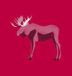 Flat shading style icon elk vector