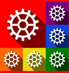 gear sign set of icons with flat shadows vector image
