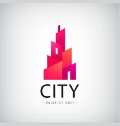 geometric city building logo modern style vector image vector image