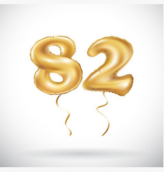 Golden number 82 eighty two metallic balloon vector