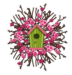 green birdhouse framed by sakura cherry blossoms vector image vector image