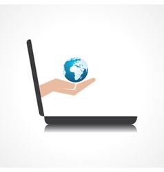 hand holding earth icon comes from laptop screen vector image