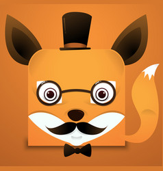 Hipster face fox square style vector