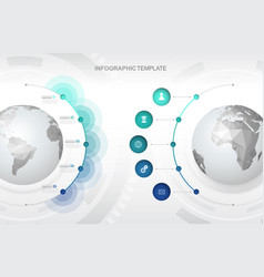 infographic template with five circles and icons vector image vector image