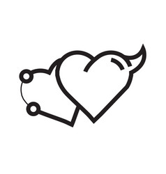 Love heart devil pen tool style vector