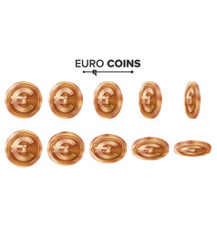 Money euro 3d copper coins set realistic vector