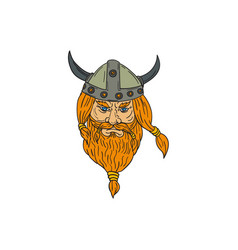 Norseman viking warrior head drawing vector