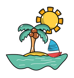 Palm with sailing boat around of island vector