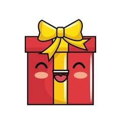 Red gift kawaii smile icon vector