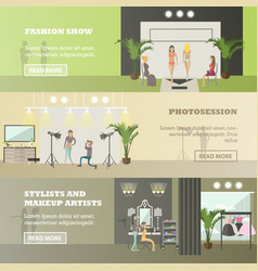 Set of fashion horizontal banners in flat vector