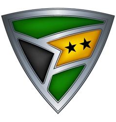 steel shield with flag sao tome and principe vector image
