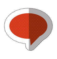 Sticker of oval speech with tail and red vector