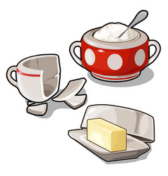 Sugar bowl butter and broken cup isolated vector