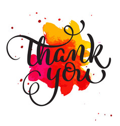 thank you text on watercolor red blot hand drawn vector image vector image