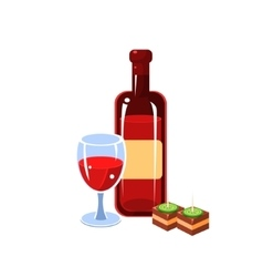 Wine Bottle And Snack vector image