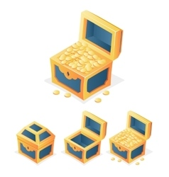 Rpg game icon treasure chest with coins closed vector