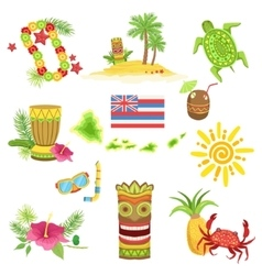 Hawaii beach vacation related set of objects vector