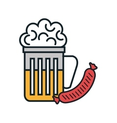 Beer and sausage isolated icon vector