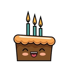 Cute kawaii cake chocolate candles happy vector