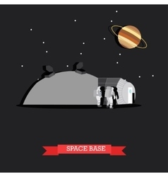 Space base and astronauts vector