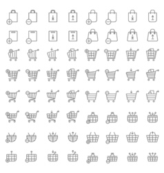 Shopping cart or shop basket icons for web vector