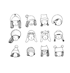Different faces people in winter hats hand vector