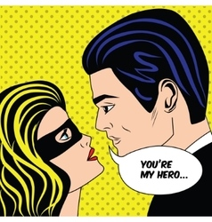 Man and woman in black superhero mask love couple vector