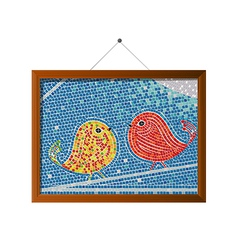 Mosaic tile birds vector image