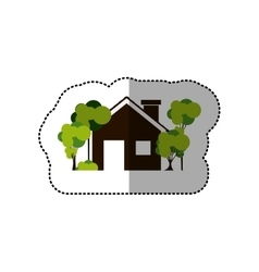 Sticker colorful house and trees on the sidewalk vector