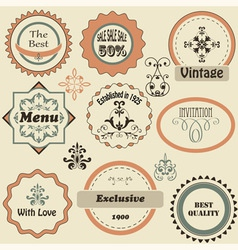 retro labels and floral design elements vector image