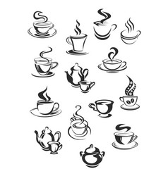 icons of coffee or tea cups set for cafe vector image