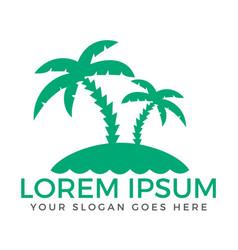 Summer beach abstract palm tree logo vector