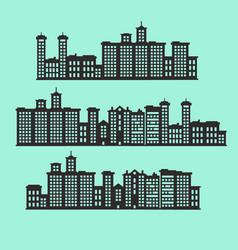 Set of silhouette buildings vector