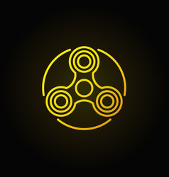 Hand triple spinner yellow icon vector