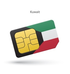 Kuwait mobile phone sim card with flag vector