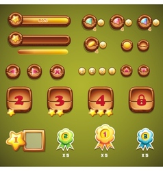 Set of wooden buttons progress bars and other vector
