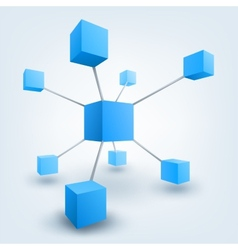 3d cubes with connections vector image