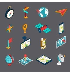 Navigation isometric icon set vector