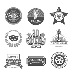 Cinema labels collection black vector