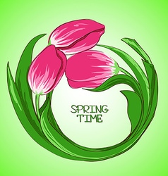 With tulip flowers vector