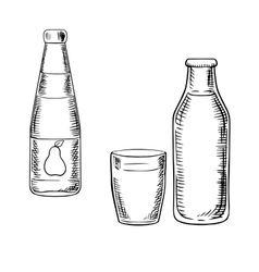 Milk and pear juice drinks sketches vector