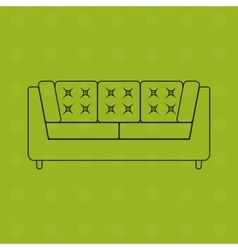 Sofa in outline flat icons vector