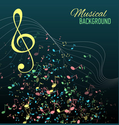 Multicolor musical notes staff background vector